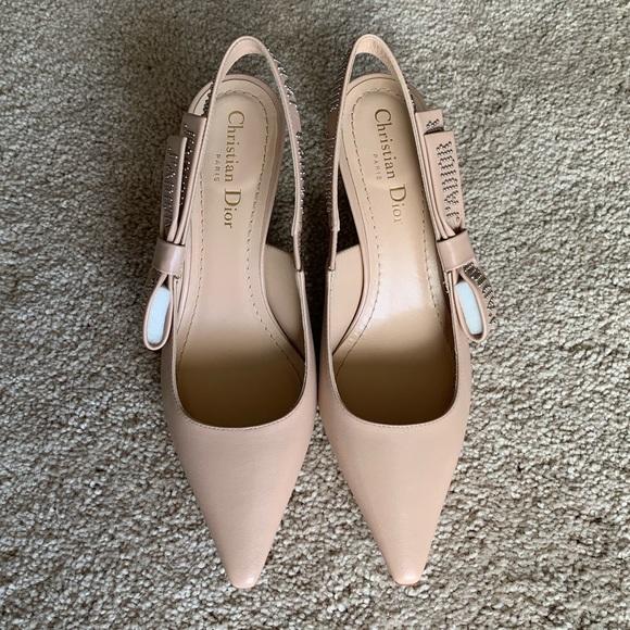 4b4ebd226 Dior Shoes | Ja Leather Slingback Kitten Heel | Poshmark